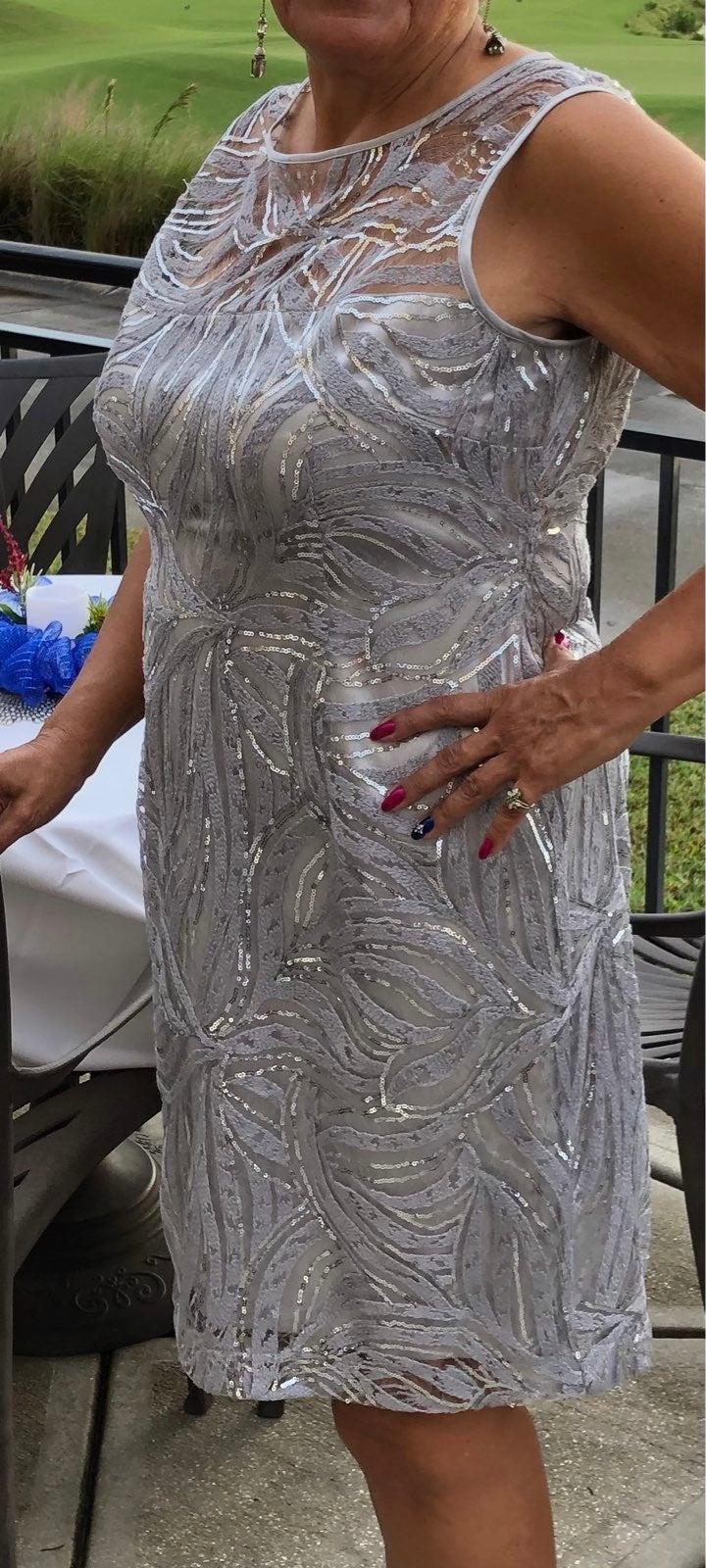 Tahari ASL Sleevless Embroidered Mesh