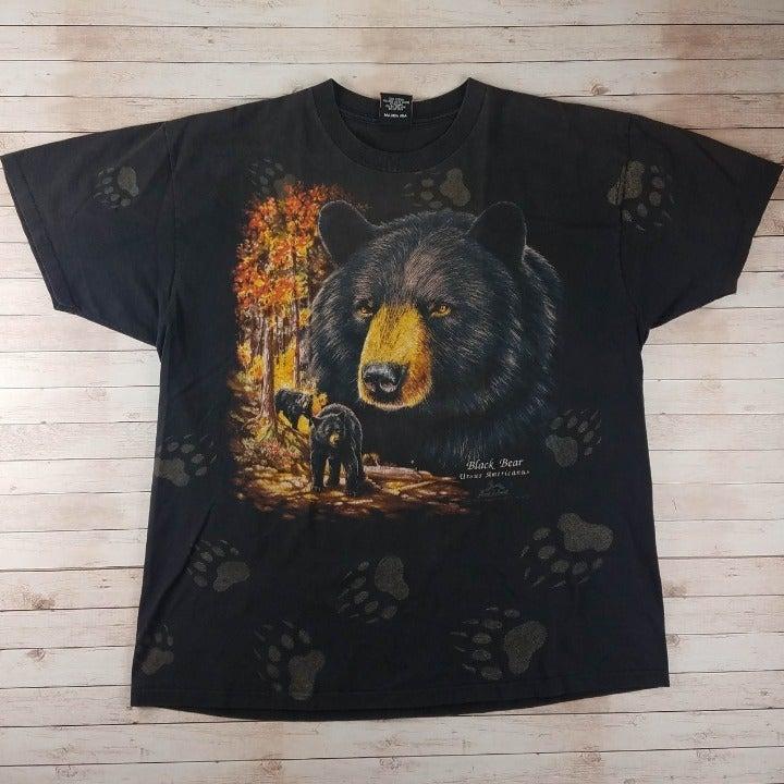 VTG 1990s Black Bears 3D Emblem AOP Tee