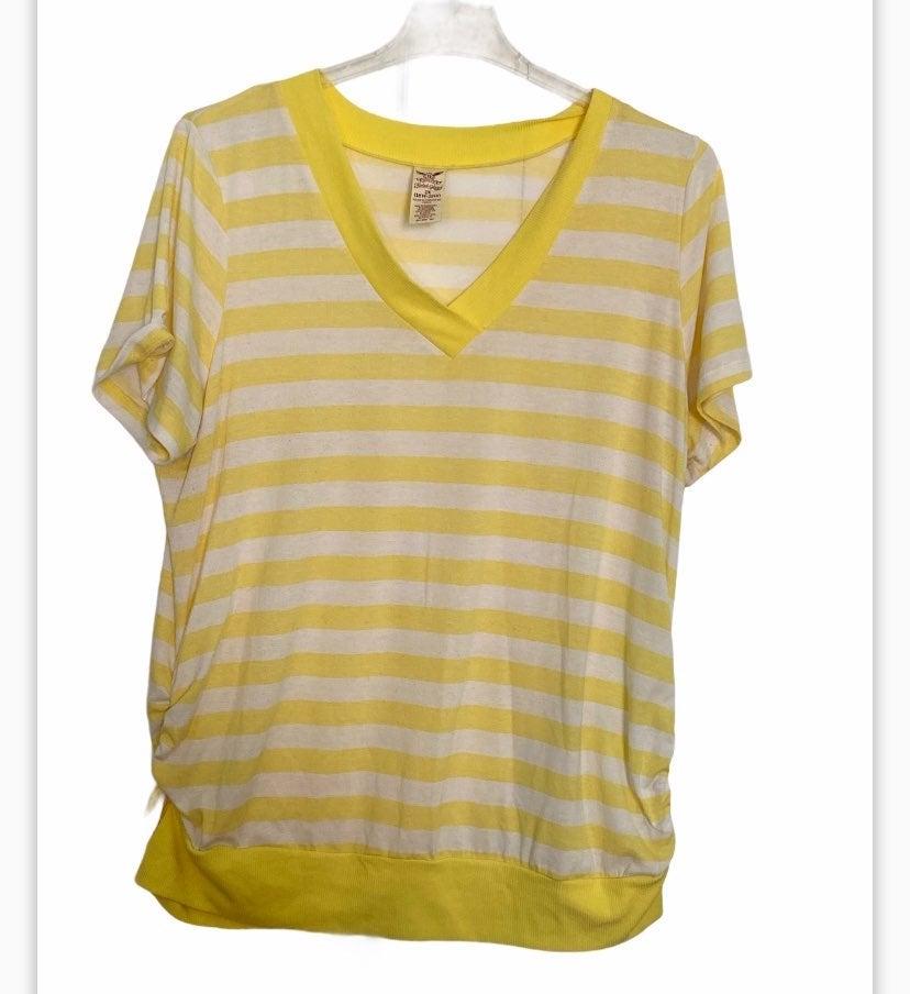 Yellow & White Stripe Short Sleeve Top