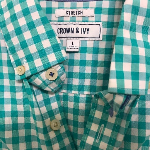 Crown & Ivy Teal Gingham Dress Shirt L