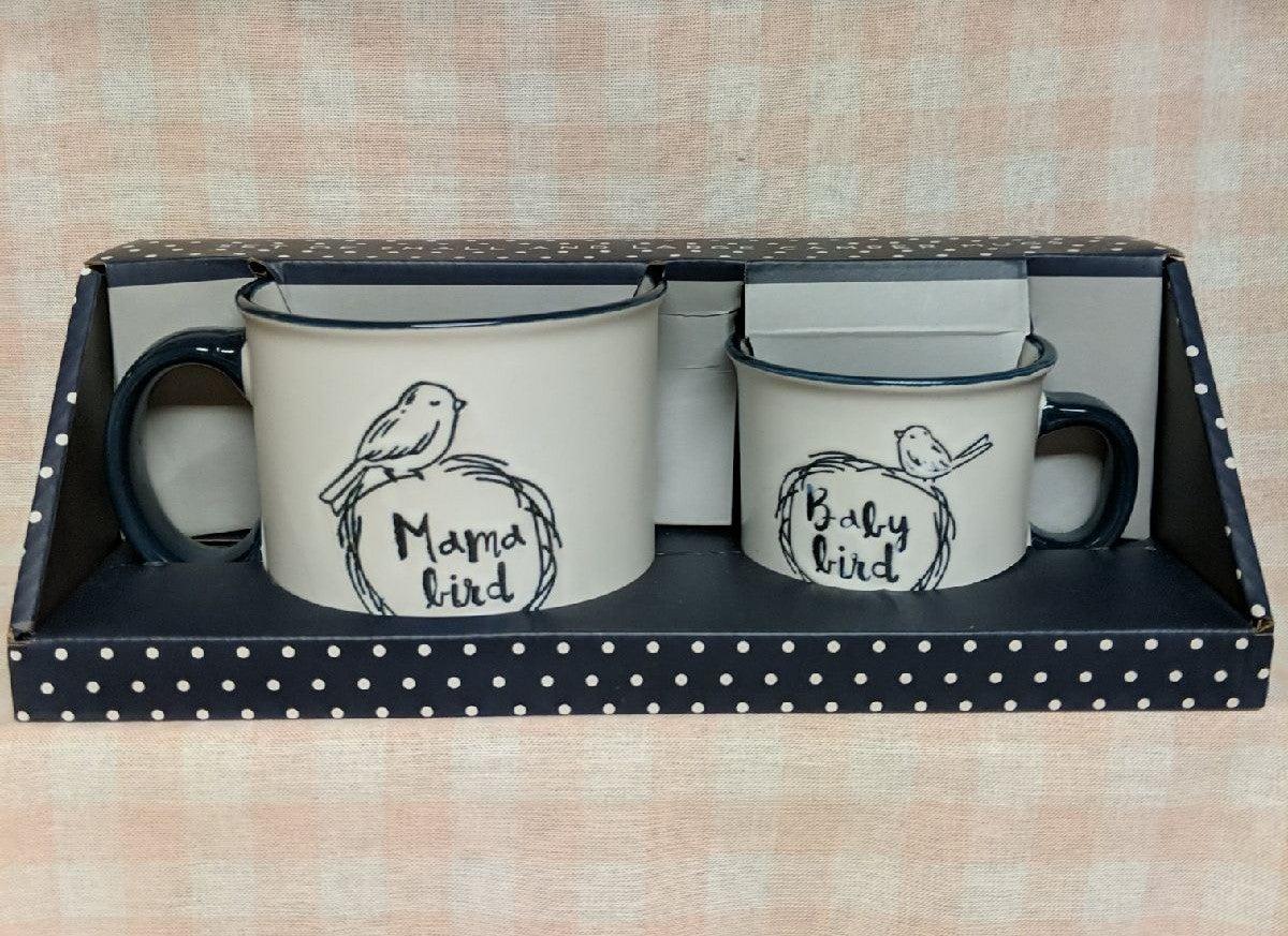 Moma bird and baby bird mug set