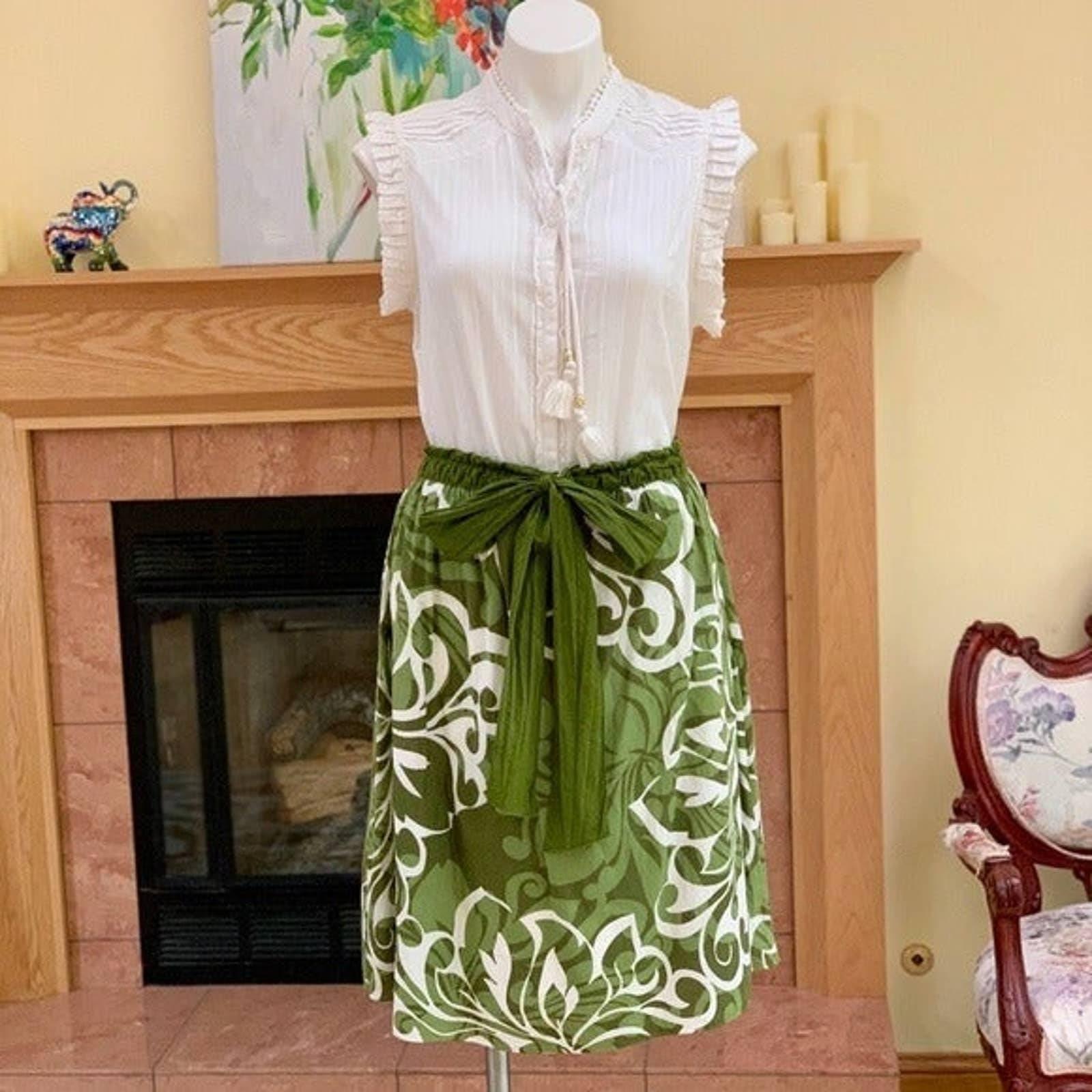 Max Studio Vintage Tie Waist Midi Skirt
