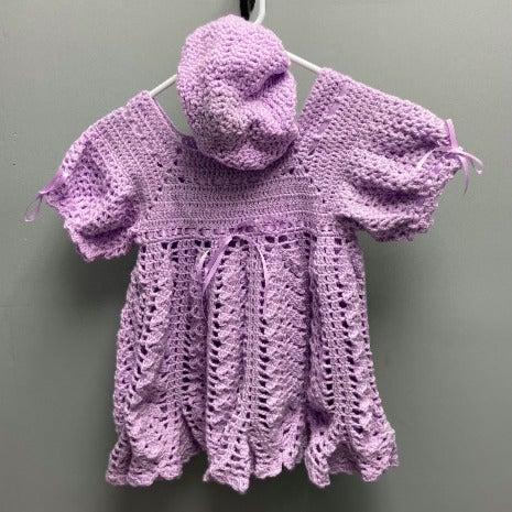 Vintage Crochet Dress Hat Set For Todler