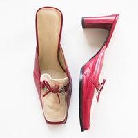 f43f558485 Bandolino Red & Cream Mule Heels