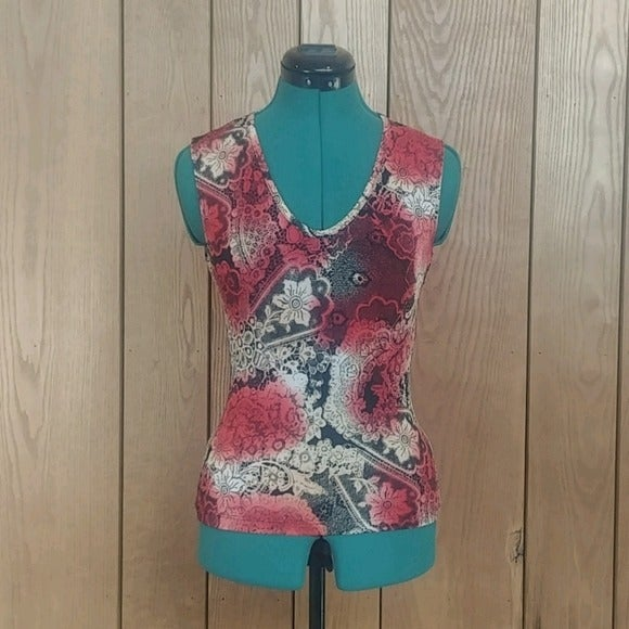 Red Oriental Stretch Sleeveless Blouse S