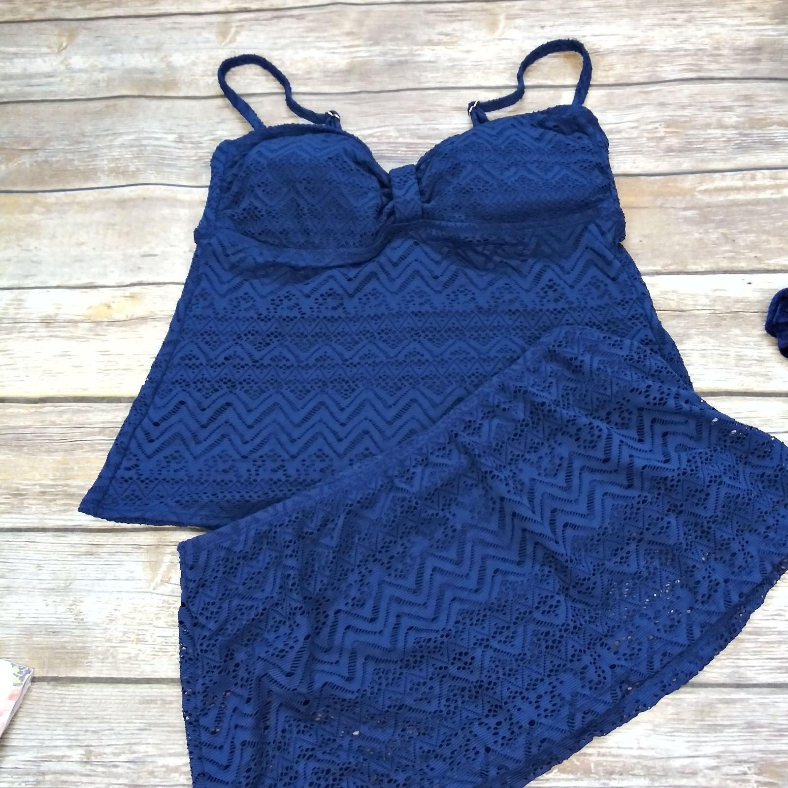 Catilina Navy Lace Tankini Skirt Swim ME