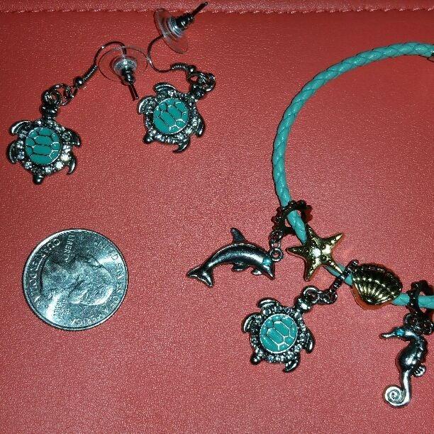 Teal turtle earring & charm bracelet set