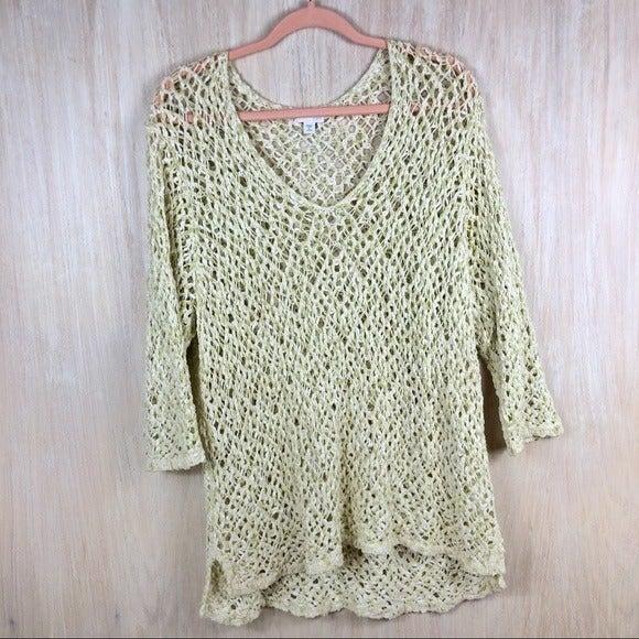 J Jill Open Knit Pullover Sweater