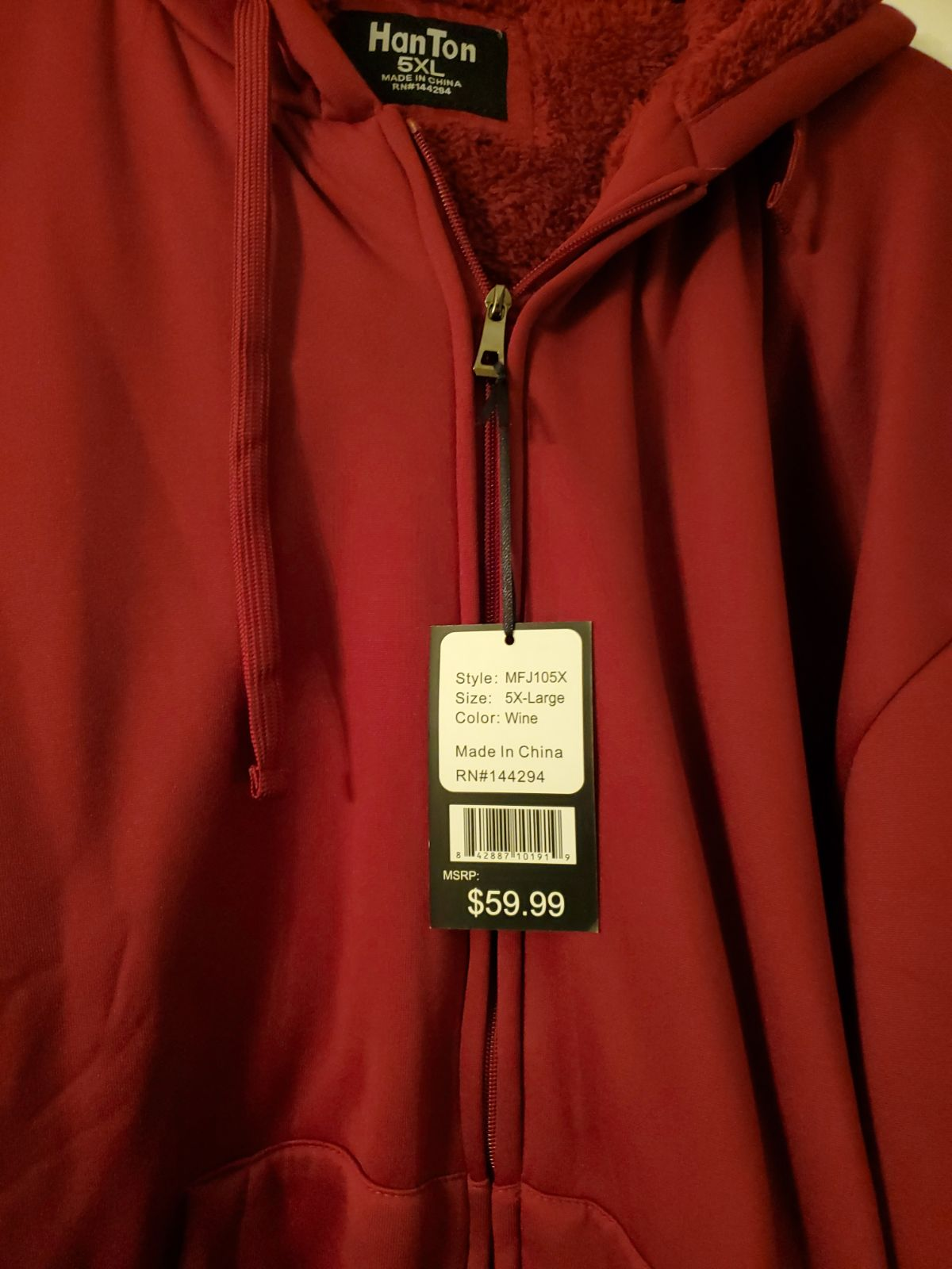 Mens Big and Tall Burgundy sherpa lined