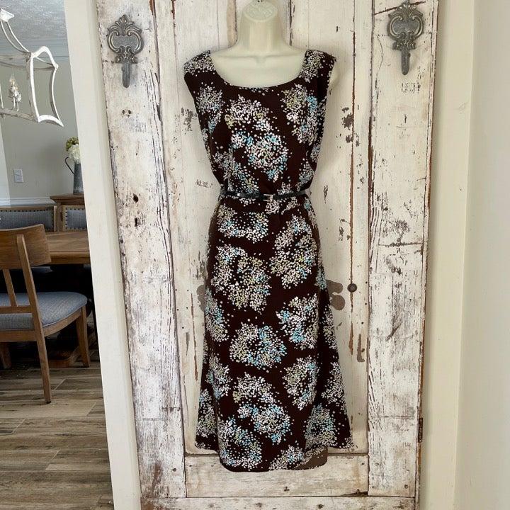 Studio 1 22W Brown Blue Polka Dot Dress