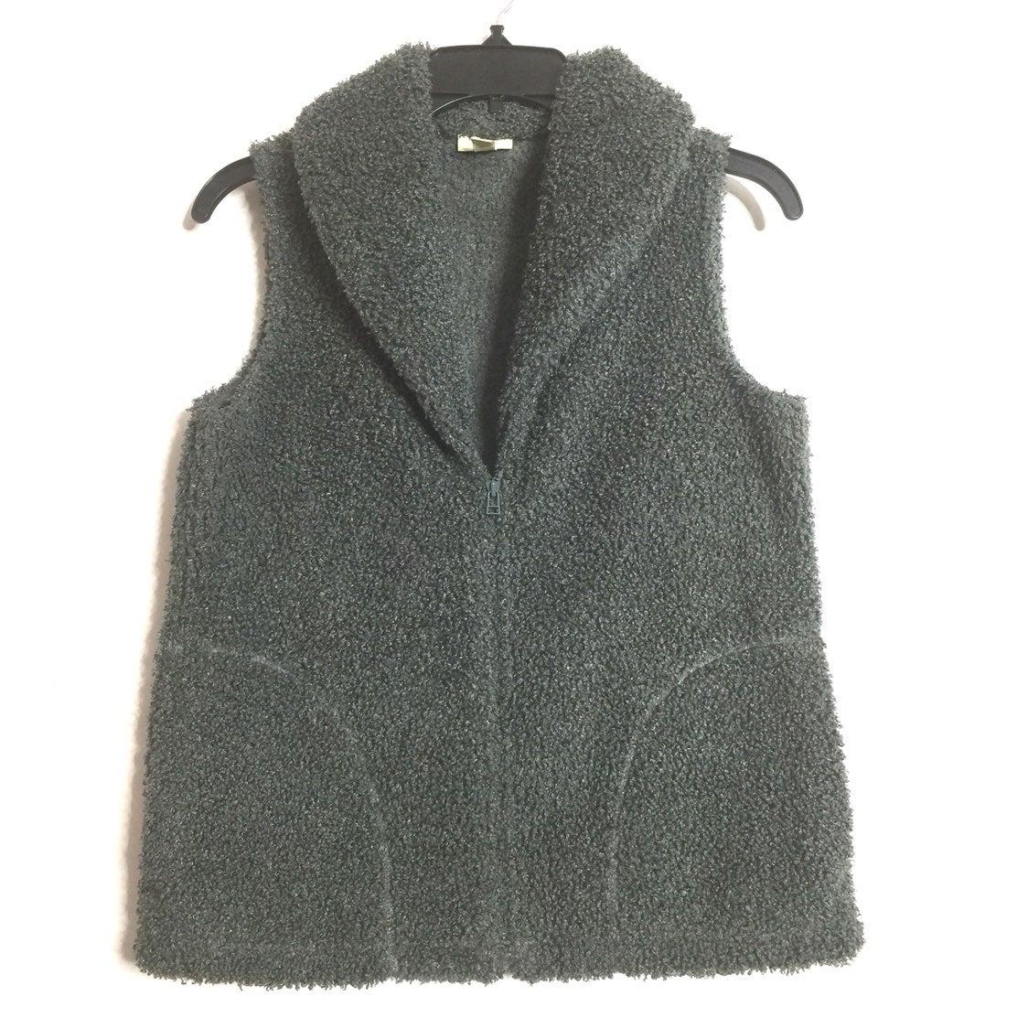 J. Jill Greenish Gray Fuzzy Zip Up Vest