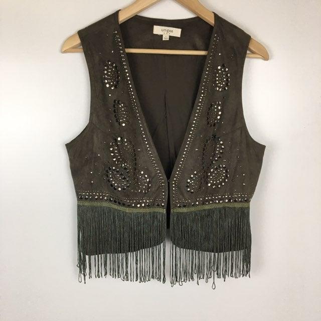 Umgee Fringe Vest Studded Size Large