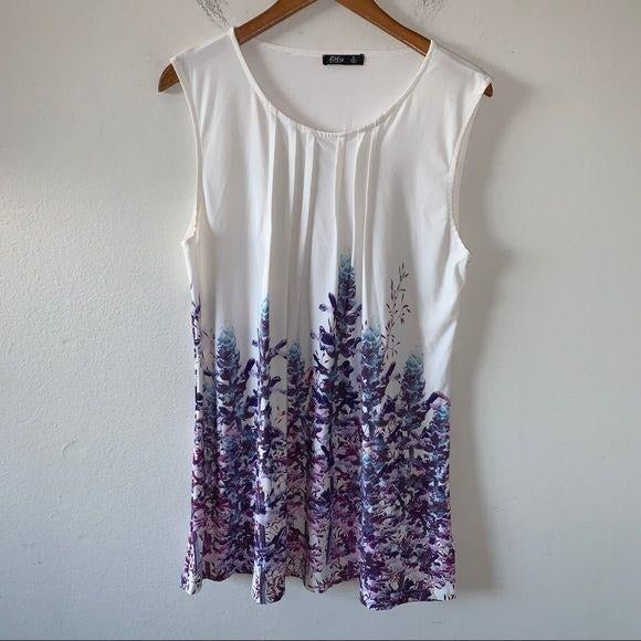Lily Purple & White Floral Pleated Sleev