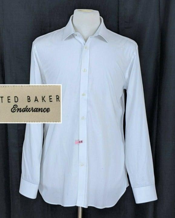 Ted Baker Men's Solid White Dress Shirt