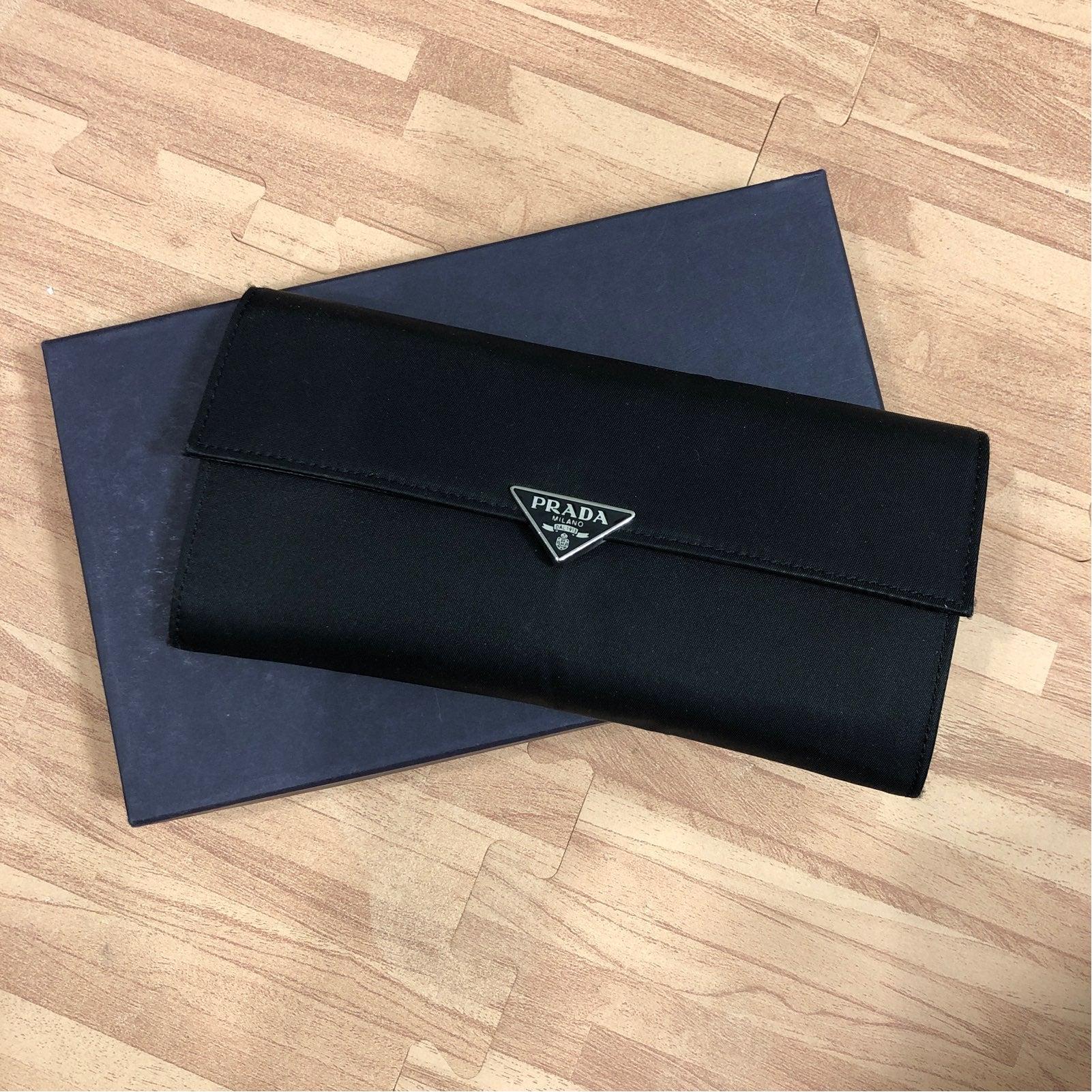 Black Prada Nylon Wallet w/Box & Cards