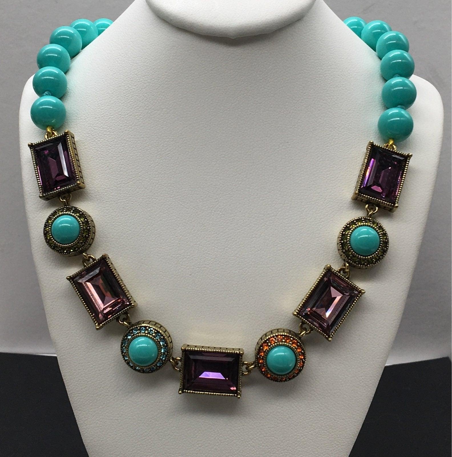 Heidi Daus Turquoise & Amethyst Necklace