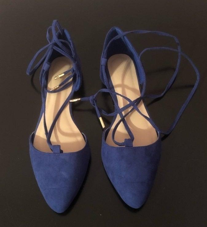 Blue Lace Up Flats