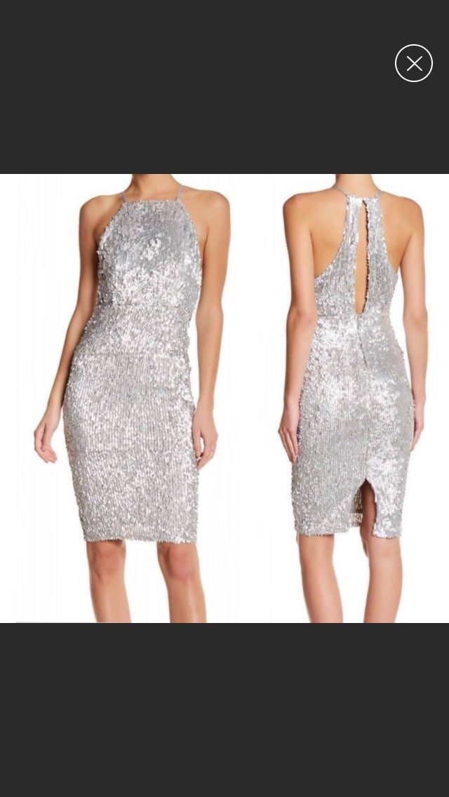 Missguided Silver High Neck Keyhole Back