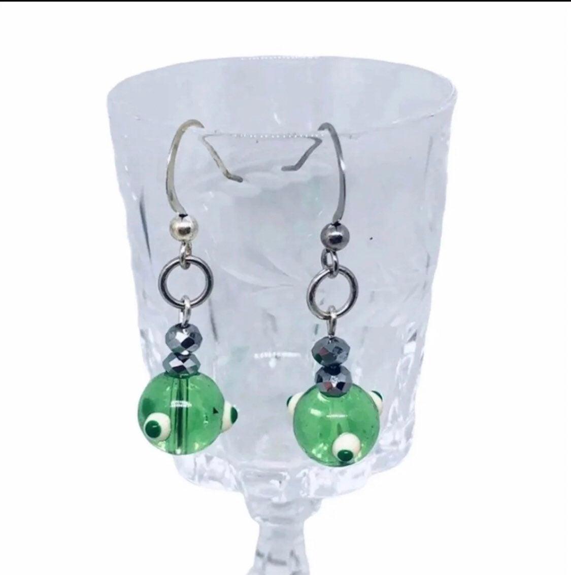 Green evil eye Earrings - new