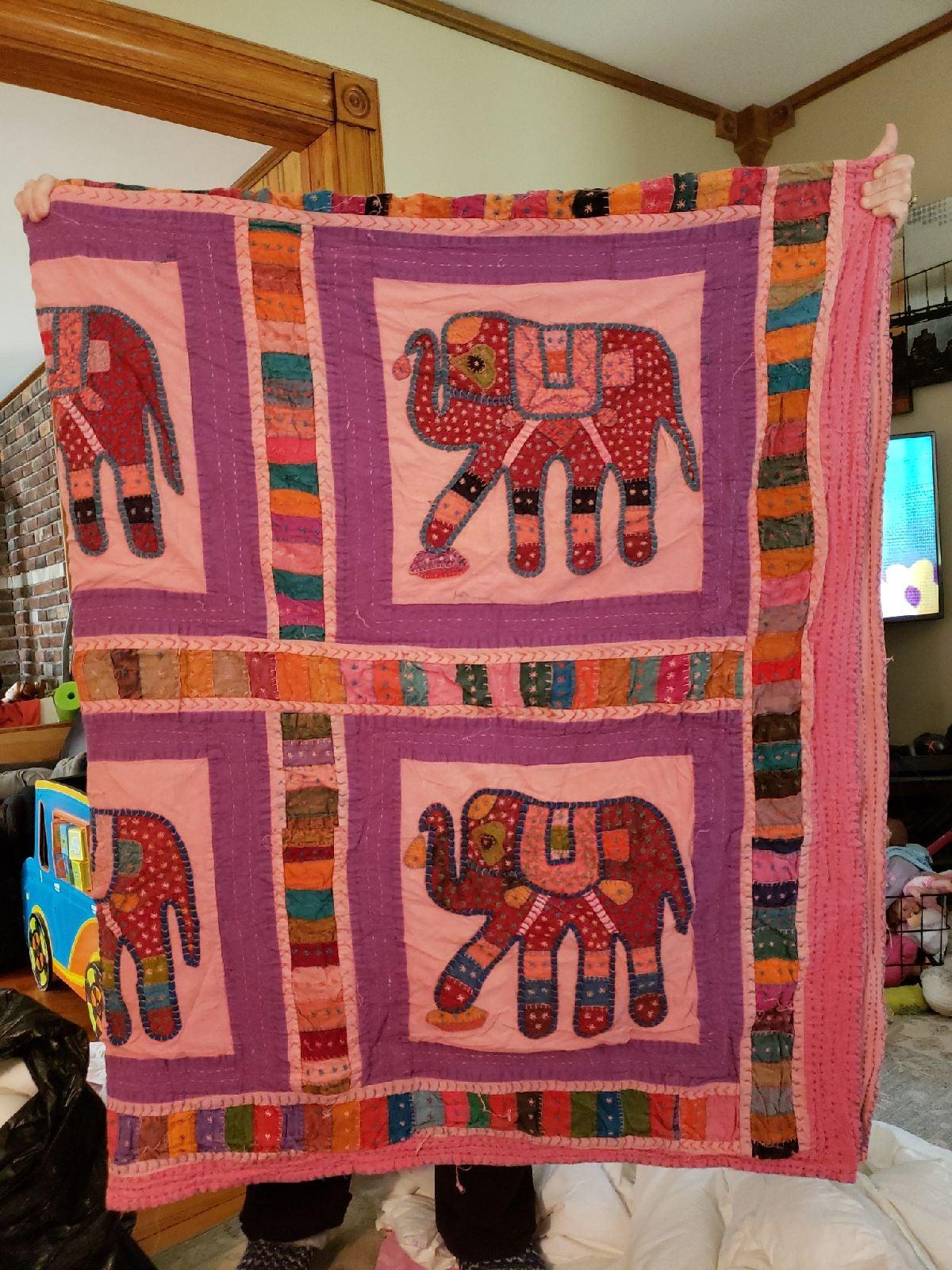 Handmade Indian quilt elephant full