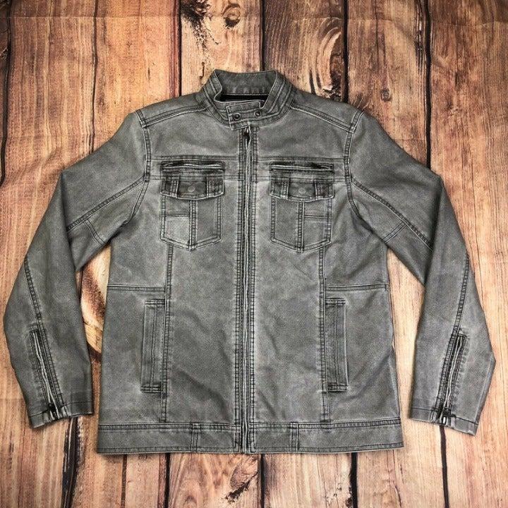 BKE Buckle Leather Motorcycle Jacket Men