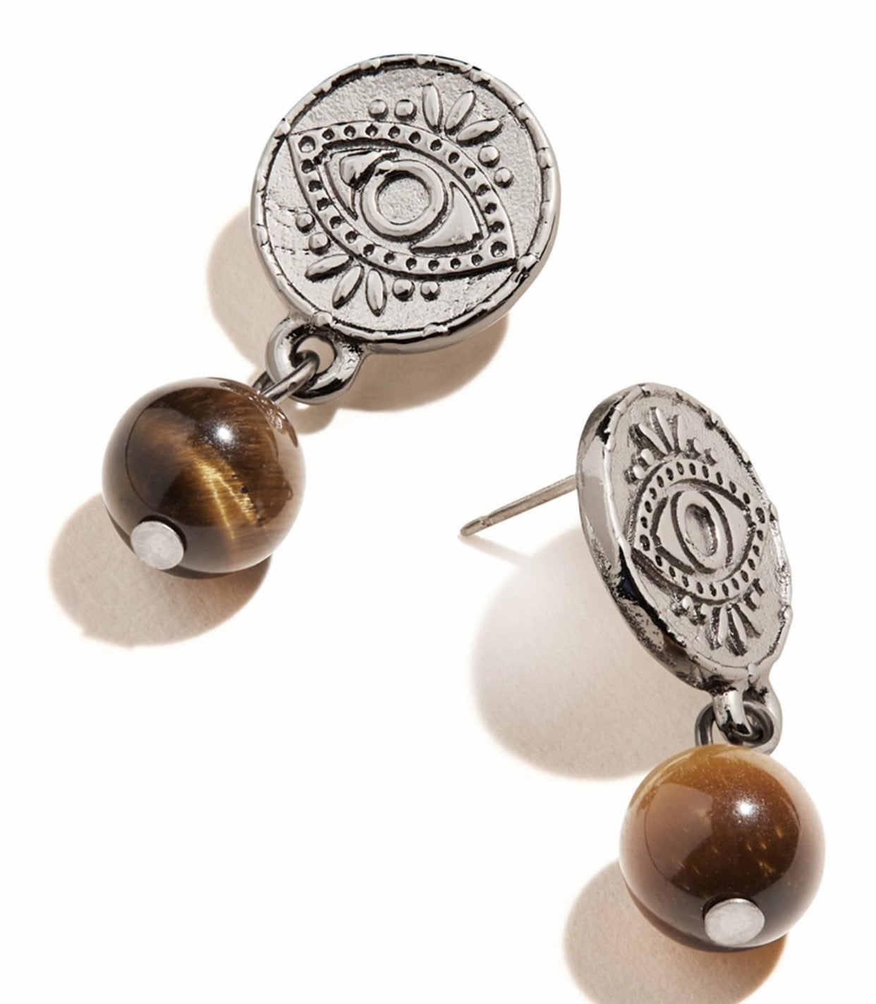 Evil Eye Coin Drop Tiger Eye Earrings
