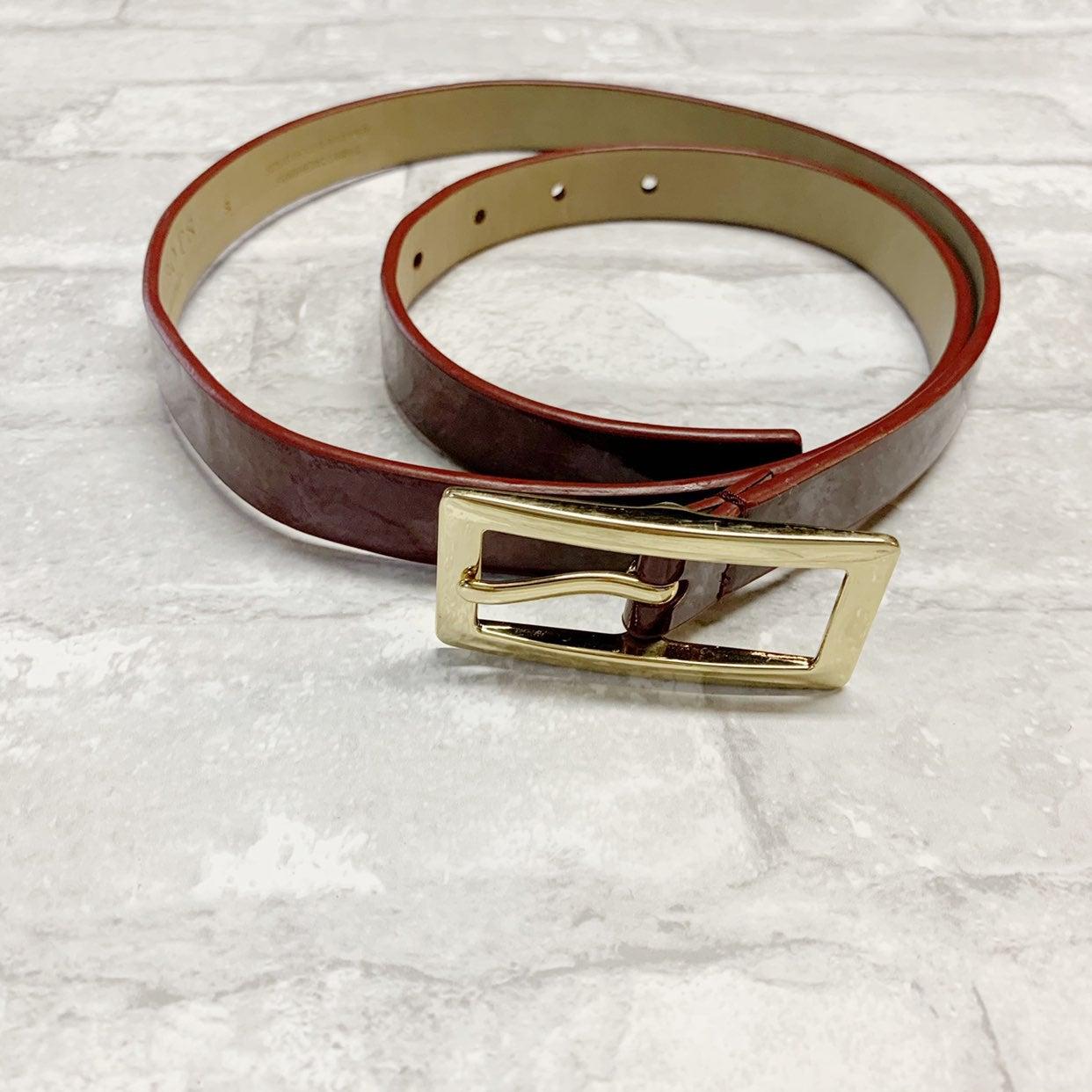 Talbots patent leather burgundy red belt