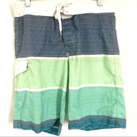 Old Navy Striped Blue Green Board Shorts