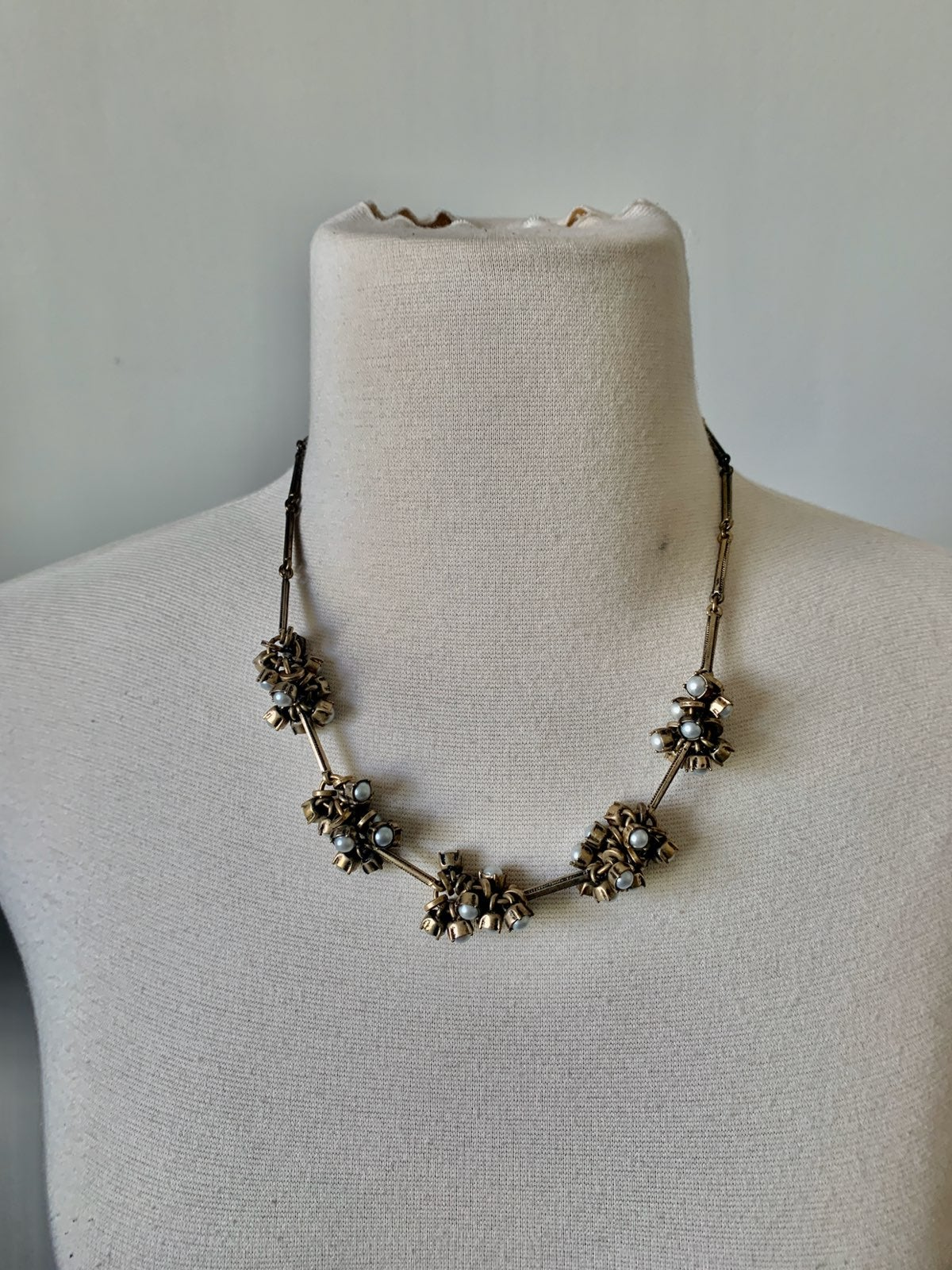 LOFT Brass and Pearl Cluster Necklace