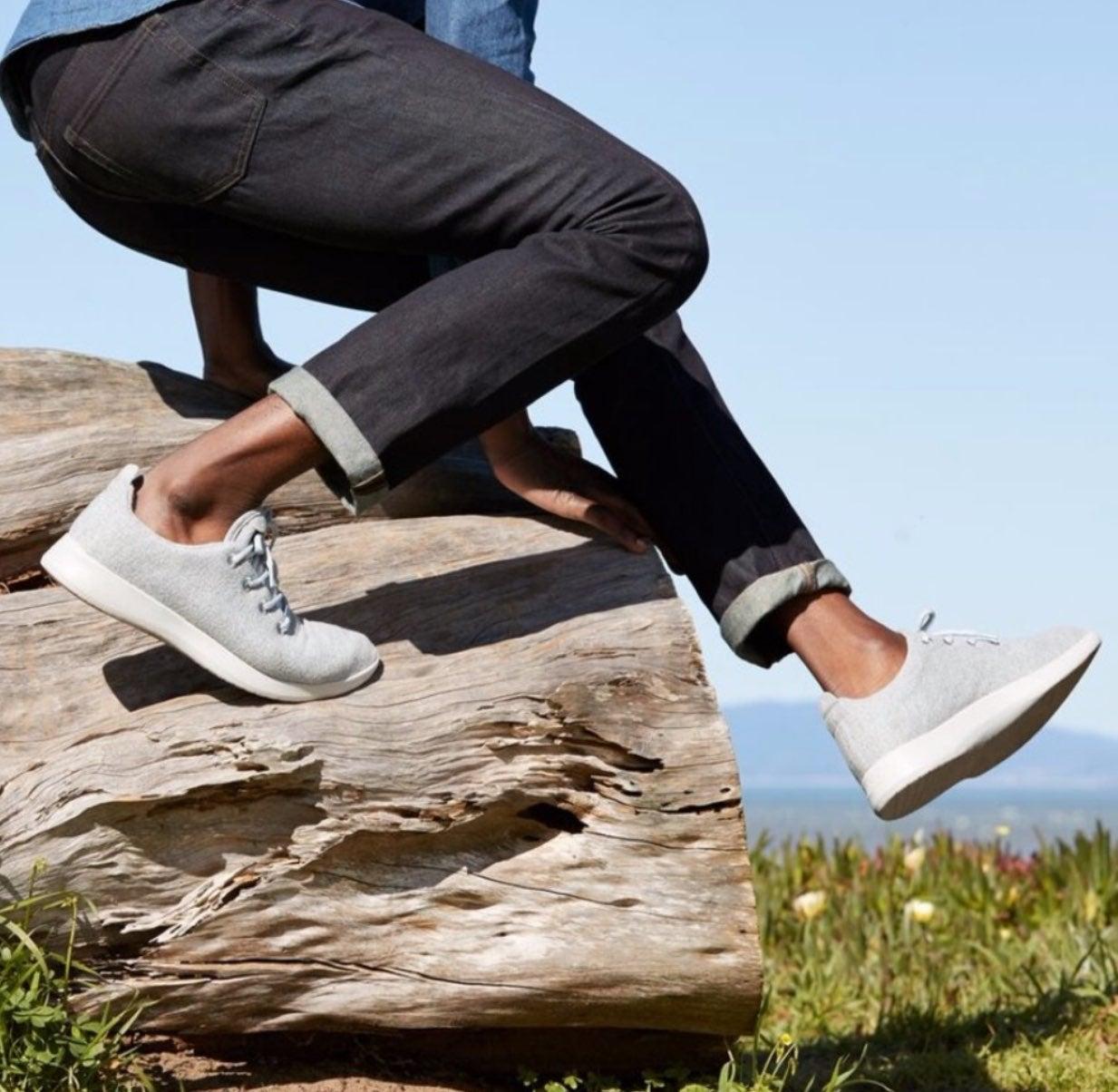 Allbirds Mens Gray White Wool Runners