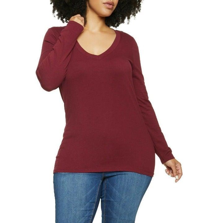 Plus Size Women's Basic Long Sleeve Top