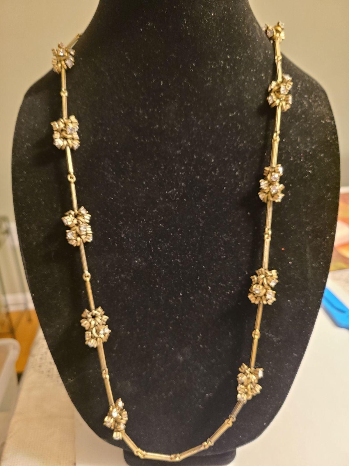 LOFT Brass and Rhinestone Cluster Neckla