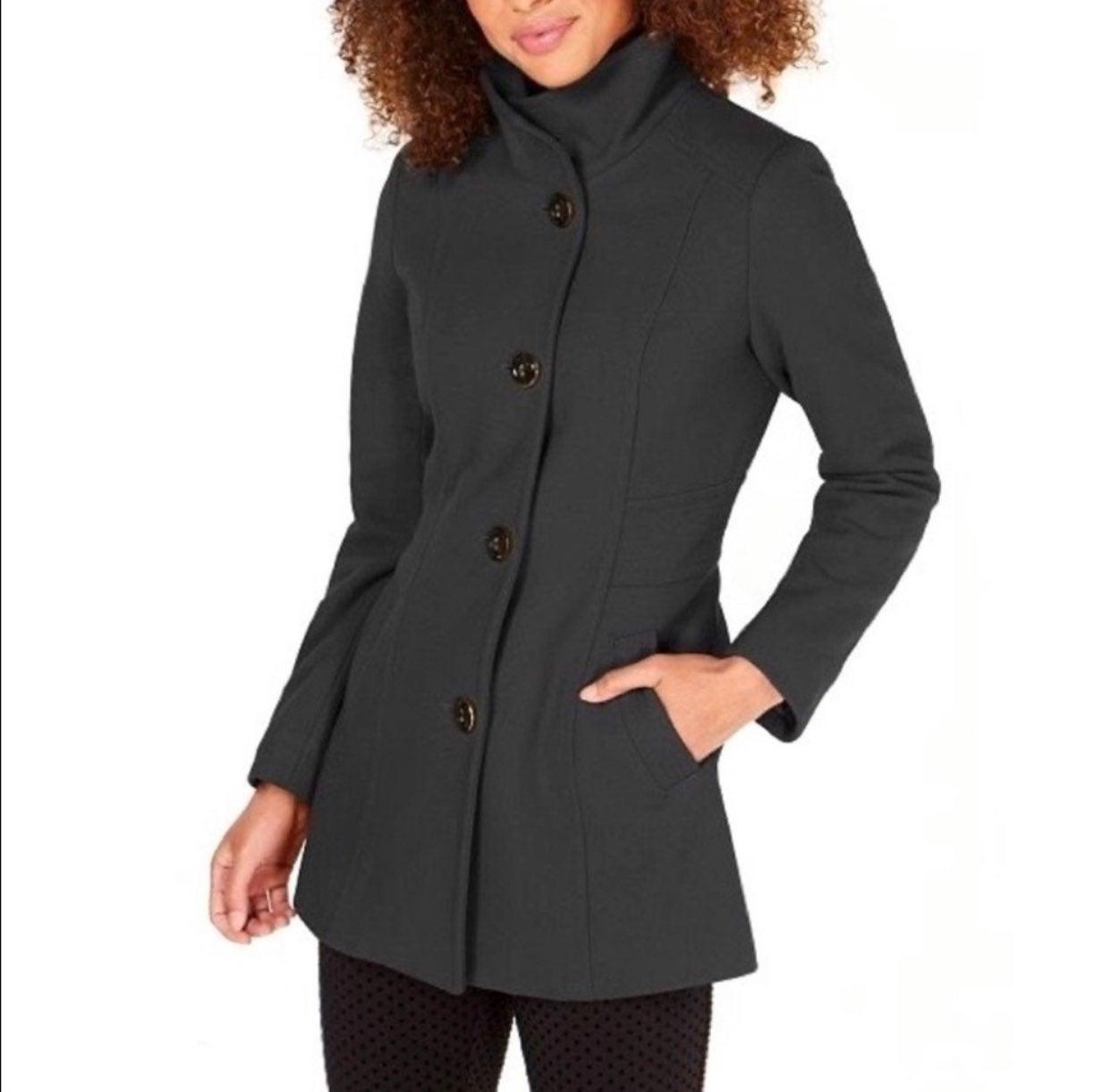 Nautica Gray Wool Single-Breasted Coat