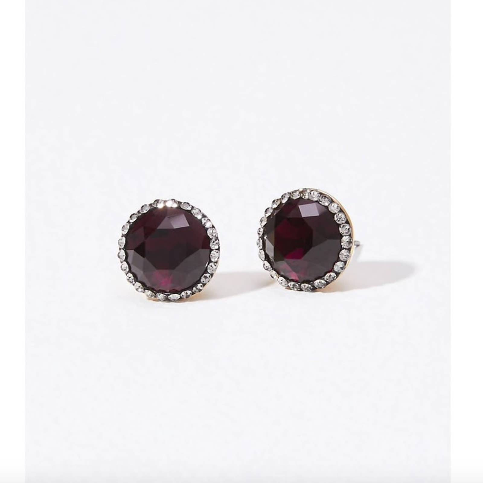 NWT LOFT Ruby Red Stone Stud Earrings