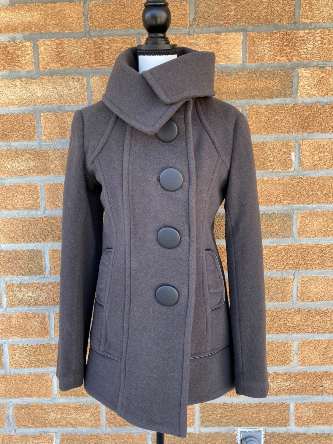 Rudsak wool leather trim coat sz medium
