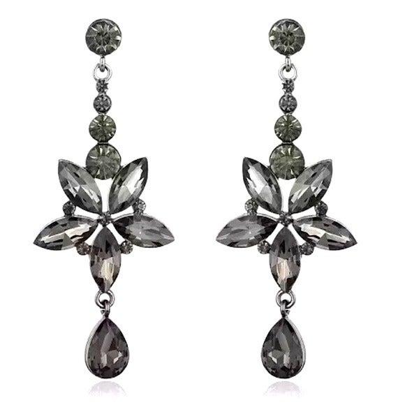 Smoke Grey Long Crystal Earrings