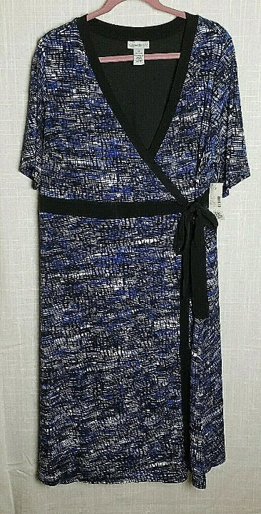 NWT Catherines  Black & Blue Faux Wrap