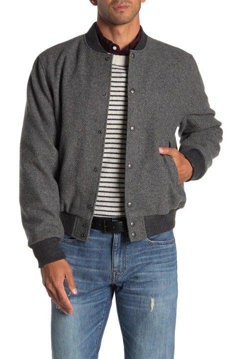 J.CREW men's gray classic bomber jacket