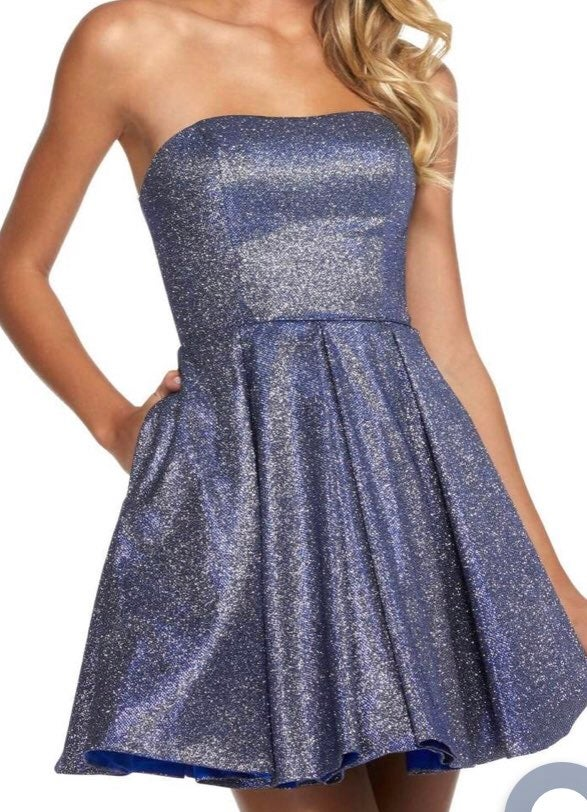 sherri hill strapless glitter prom dress