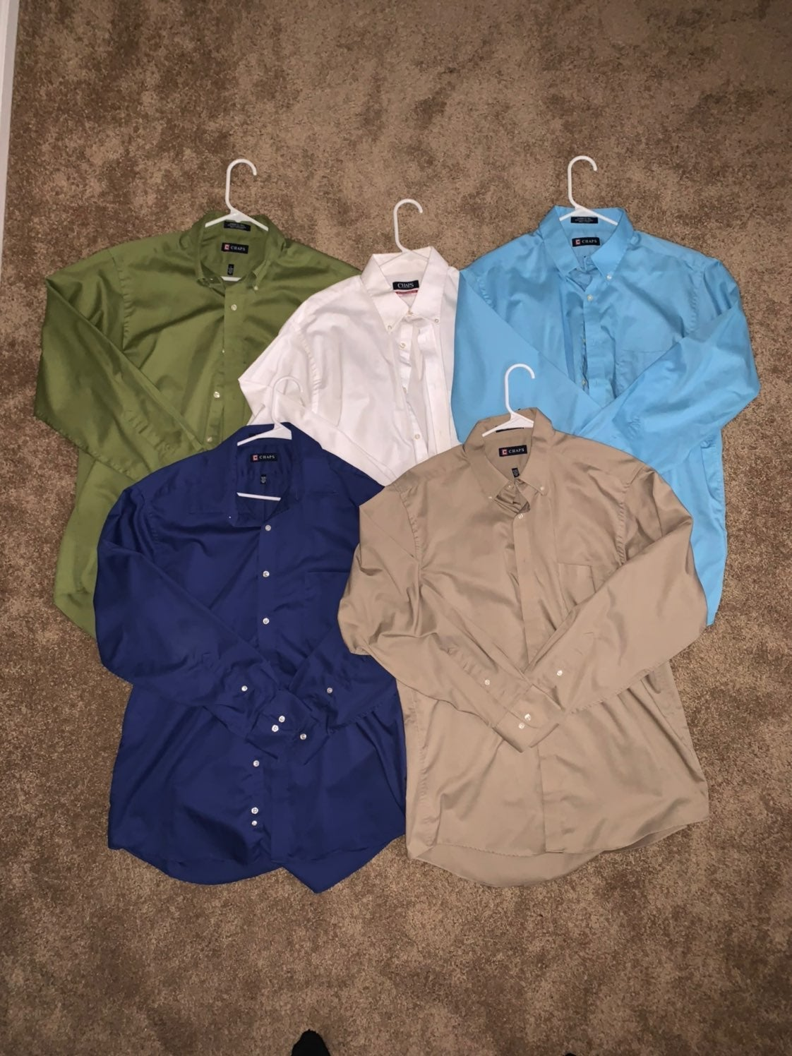 5 Solid Chaps Dress Shirts 16-16.5 34/35