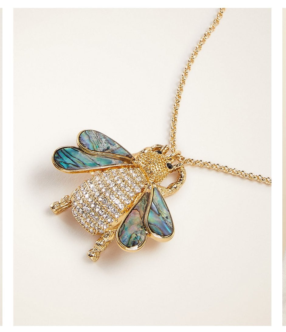 Ann Taylor Bee Pendant Necklace Gold