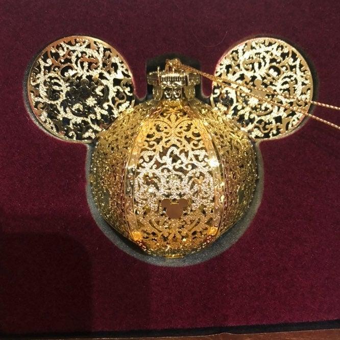 Disney baldwin gold mickey ears ornament
