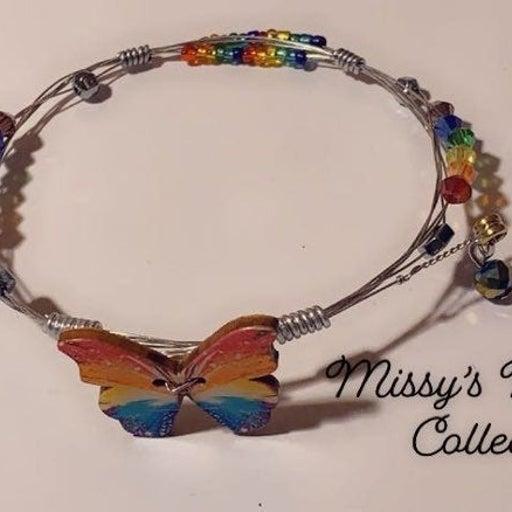 bracelet handcrafted rainbow butterfly w