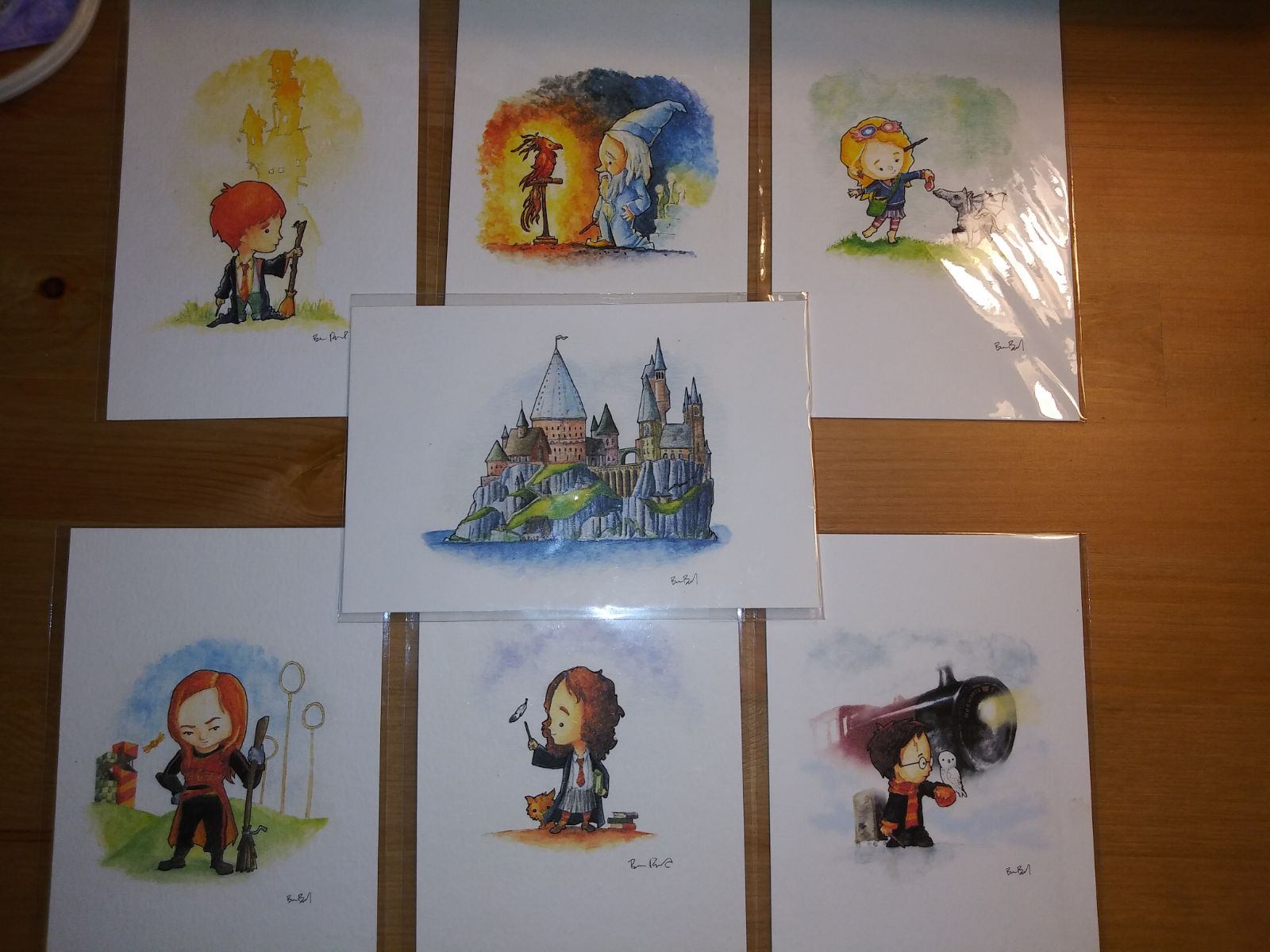 Harry Potter watercolor art postcard set