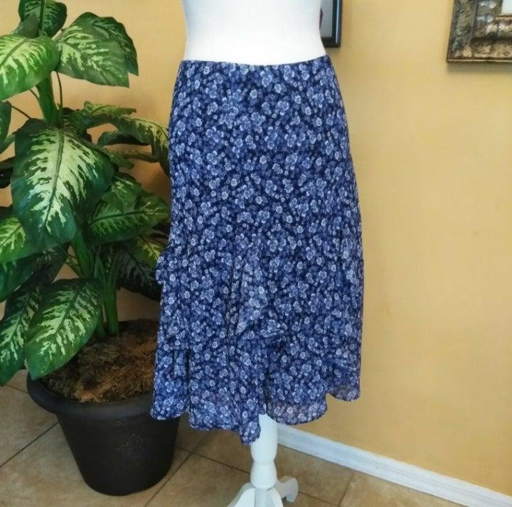 American Living Blue Floral Ruffle Skirt