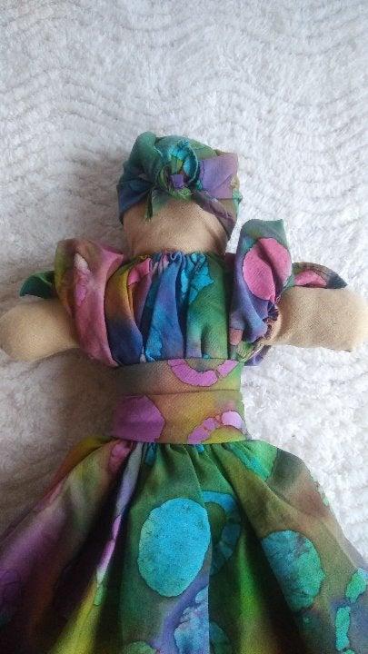 Handmade Tie Dye Dress Handkercheif Doll