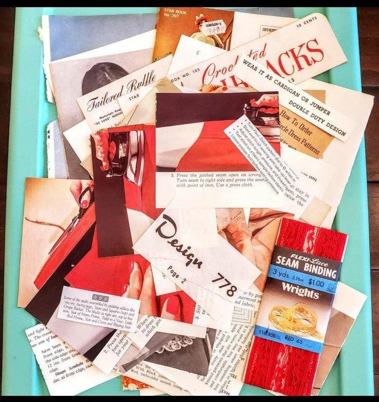 Vintage Sew Red Ephemera Kit Sewing