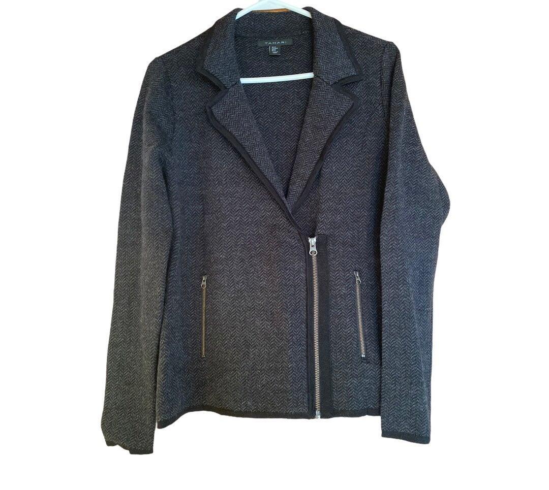 Tahari Wool Blend Half Zip Sweater M