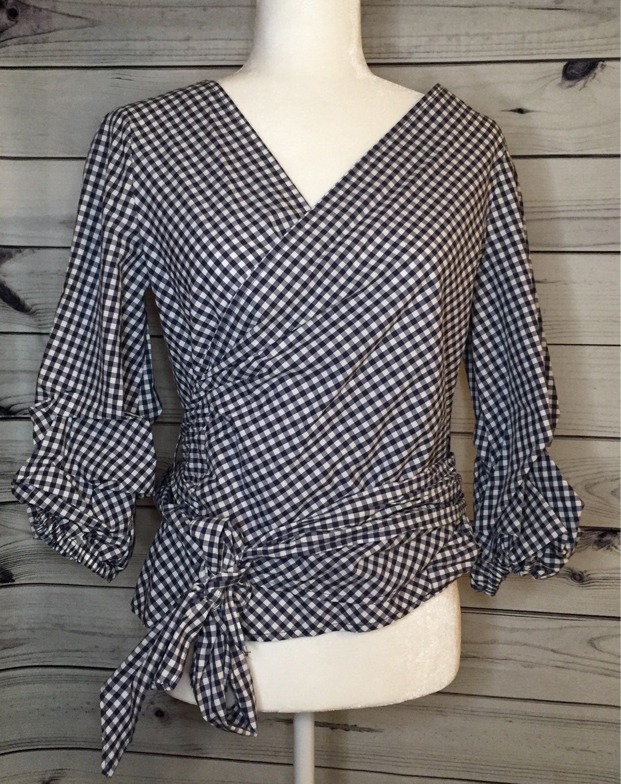 Max Studio Wrap Gingham Blouse NWT