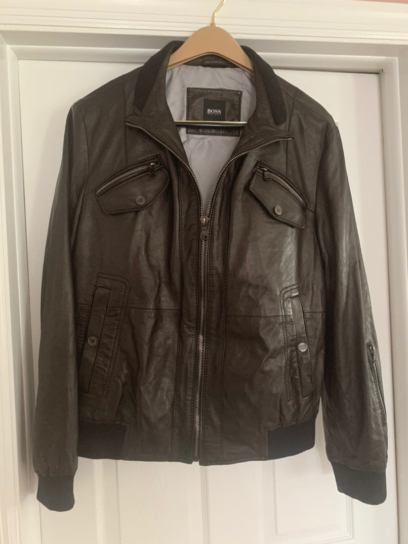 Hugo Boss Leather Jacket Mens 44R